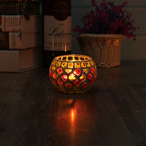 KING DO WAY Mosaic Glass Candle Holder Light Handle Tealight Candleholder Lantern Lamp Chimney Green Flowers