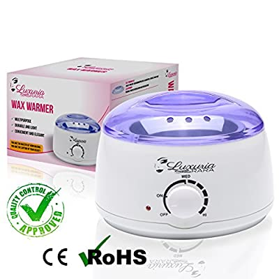 Hot Wax Warmer for Hair Removal Melts Hard or Soft Wax for at Home and Spa Salon Waxing-Portable Electric Plug-in Depilatory Heater for Bikini Brazilian Facial and Total Body Waxing-Single Melting Pot by Luxuria Rara