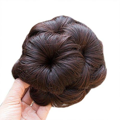 (Battnot Dutt Haarteil für Damen Clip In Front Hair Kurzes, Frauen Mädchen Fransen Hübsche Pferdeschwanz-Halter-Haarteil-Perücke-Haar-Ring-Brötchen Party Weiche Haarperücken (13cm, dunkelbraun))