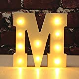 Dekorative leuchtende Buchstaben, DINOWIN hölzerne DIY LED-Buchstabe-Lichter-Zeichen-Partei-Hochzeits-Feiertags-Marquee-Dekor-batteriebetriebenes, warmes Weiß, Alphabet (M)