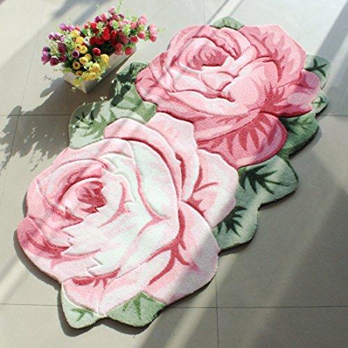Gold Oval Teppich (sannix Rose Blumen Bereich Teppich Teppich Matte, Textil Polyester Schwamm, rose, 55*85cm)