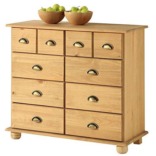 IDIMEX Commode COLMAR chiffonnier apothicaire rangement avec 8 tiroirs en pin massif finition teintée/cirée