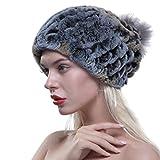 URSFUR Frauen Wintermütze Fellmütze aus Echte Rex Kaninchen mit Fuchspelz Kugel Baskenmütze Bommelmütze -blau