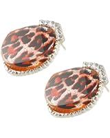Women Pair Silver Tone Circle Shaped Rhinestone Detailing Stud Earrings