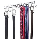mDesign appendino- Appendiabiti per Cravatte e Cinture da Appendere - portacravatte Ideale Anche per Sciarpe, Borse e Indumenti - Cromato