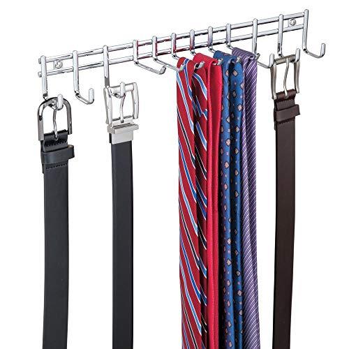 mDesign appendino– appendiabiti per cravatte e cinture da appendere – portacravatte ideale anche per sciarpe, borse e indumenti - cromato