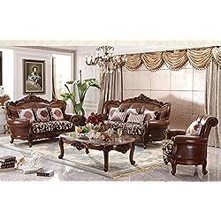 Ma Xiaoying piel auténtica, madera maciza de haya, tradicional Collection juego de muebles de salón (sofá, Loveseat y 2sillas y 2tables), color marrón por Ma Xiaoying