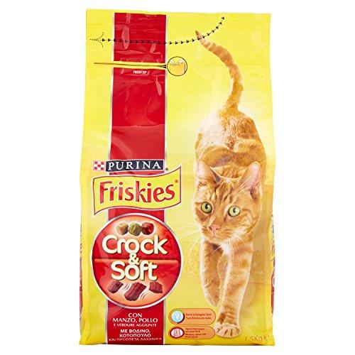 Friskies crock e soft crocchette per il gatto, con manzo, pollo e verdure aggiunte, 1.5 kg (pacco da 6)
