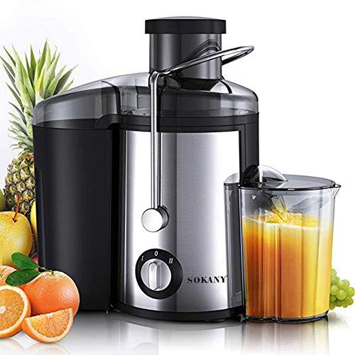JIAX Elektro-Entsafter 800W Edelstahl ganzer Frucht-Gemüse-Lebensmittel-Mixer Mixer 2 Geschwindigkeitseinstellung, leicht zu reinigen und BPA-frei Quiet Motor & Funktion umkehren