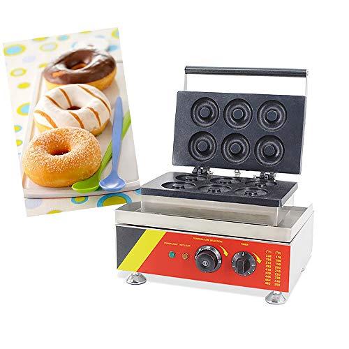 MXBAOHENG Donut Maschine 6 Stück Kommerzielle Donut Maker Maschine Elektrische Donut-Fritteuse Backgerät Rostfreier Stahl Bäcker CE Zertifizierung (220V) -