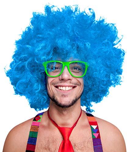 Balinco 280g XXL Afro PERÜCKE Lockenkopf Wig Black Afroperücke Lockenperücke Fasching Karneval schwarz, weiß, blond, rot, türkis, grün, pink (Türkis)
