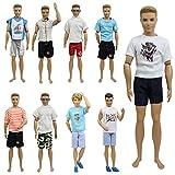 ZITA ELEMENT 10 Stück Puppensachen Outfits für Ken Barbie Mann Junge Kleider Kleidung Bekleidung Puppenkleidung 5er Oberteil mit 5er Hosen Puppenkleider