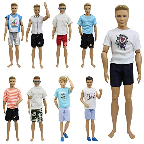 ZITA ELEMENT 10 Stück Puppensachen Outfits für 11,5 inch Doll Boy Friend Mann Junge Kleider Kleidung Bekleidung Puppenkleidung 5er Oberteil mit 5er Hosen Puppenkleider - Ken Barbie-party