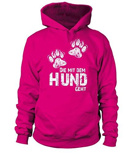 HUNDE Motiv Kapuzen-Pullover-Hoodie-Sweatshirt: Die mit dem Hund geht (Pfoten) - Damen Shirt Größe S bis XXXXL - in versch. Farben