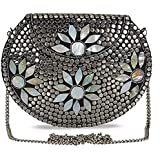 Shakuntala Textiles Bridal Women's Antique Brass Purse Ethnic Handmade Metal Clutch Bag