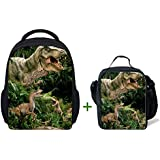ThiKin 3D Dinosaur Kids Kindergarten School Bag Backpack With Lunch Bag Lunch Box
