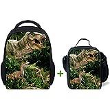 ThiKin 3D Dinosaur Kids Kindergarten School Bag Backpack With Lunch Bag Lunch Box