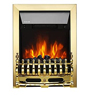 fam famgizmo Golden Freestanding Electric Fireplace 1000W/2000W LED Heater with Imitation Black Coal and Flame Only Option