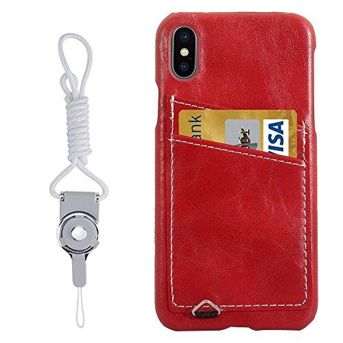 Mobiltelefonhülle - Für iPhone X PC + Lederpaste Crystal Texture Schutzhülle mit Kartensteckplatz & Sling ( Farbe : Grau ) Rot