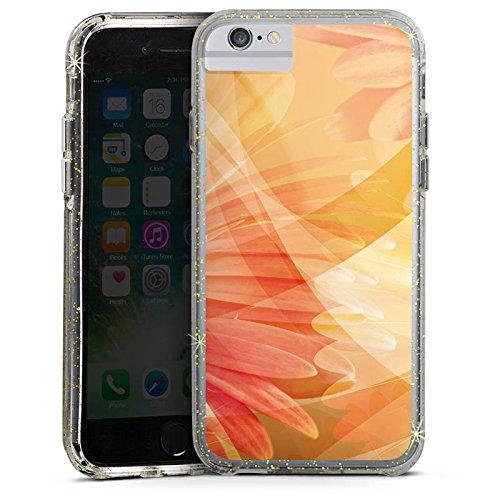 Apple iPhone 7 Plus Bumper Hülle Bumper Case Glitzer Hülle Flowers Blumen Pflanzen Bumper Case Glitzer gold