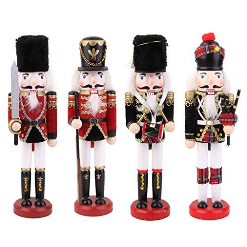 Generic Lot 4pcs Casse noisettes Soldat Nussknacker en Bois Décoration de la maison Noël