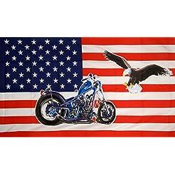 U24Bandera de Estados Unidos Moto Harley con águila, 90x 150cm