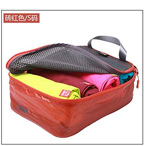 Zbshop Outdoor-Bekleidung Net Tasche Schulranzen, Freizeittasche, Verschiedene Tasche, Aufbewahrungstasche, Ziegel rot -S