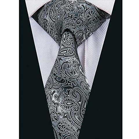 CAOFENVOO Men's Woven Silk Formal Black Grey Paisley Tie Necktie