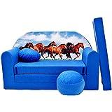 WELOX c29 KindersofaBettfunktion3in1-Kindersessel,Ausziehbett,blauPferde, Eierschalenfarbe