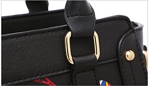 Pacchetto selvaggio moda di personalità di marea, blocco versione coreana dello zaino obliquo, borsa a tracolla, borsa stampata ( Colore : Nero ) Nero