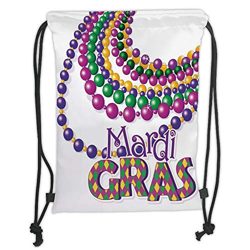 Fashion Printed Drawstring Backpacks Bags,Mardi Gras,Colorful Beads Party Necklaces with Mardi Gras Calligraphy Patterned Design Decorative,Multicolor Soft Satin,5 Liter Capacity,Adjustable String Multi Color Patterned