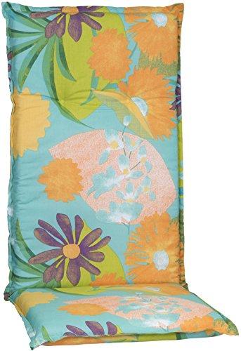 Beo Gartenstuhlauflage Polster Aquarell Blumenmotiv M701 für Hochlehner Orange, türkis, rosé und...