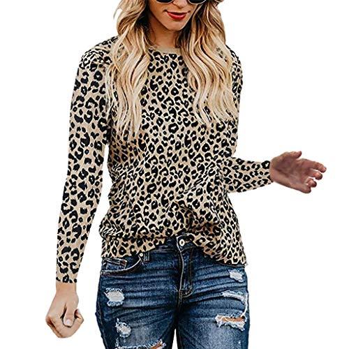 BIKETAFUWY Damen Oberteile mit Leopardmuster, Casual Langarm T-Shirt O-Ausschnitt Hemd Mode Pullover Slim Fit Tunika Sweatshirts Hemd Kostüm Langarmhemd Rundhals Bluse (Niedlich Wie Eine Knopf Kostüm)