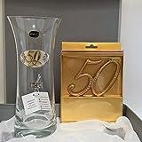 Bucaro cristal 50º Aniversario y decoracion para el pastel numero a juego