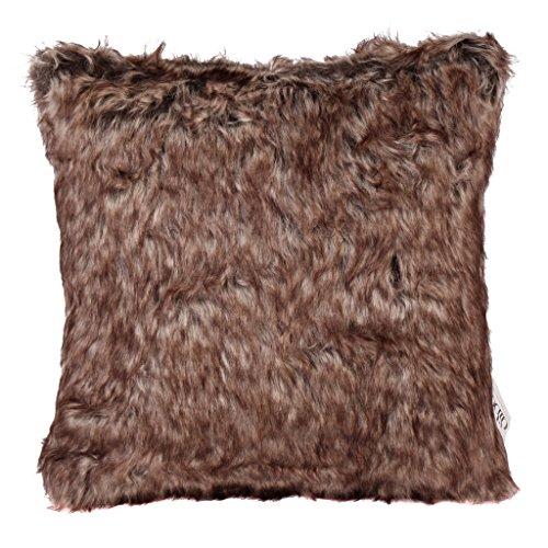 Deluxe Luxus Kissen–Cosy Forest Bear Fake Kunstfell Bett Sofa Kissen Rosy Braun/Ghost weiß/grau Home Decor 40X 40cm (Faux-pelz-luxus-werfen)