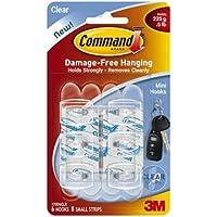 Command, Gancetti trasparenti con strisce adesive, Bianco (farblos)