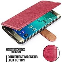 Funda Samsung Galaxy J7 2016, Mulbess Samsung Galaxy J7 2016 Wallet Case [Rojo] - Funda Cuero con Ranuras Cierre Magnético para Samsung Galaxy J7 2016