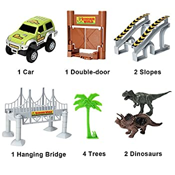 Actrinic Slot Car Race Track Sets Dinosaur Toys Jurassic World With 142 Pieces Flexible Tracks 2 Dinosaurs,1 Military Vehicles,4 Trees,2 Slopes,1 Double-door & 1 Hanging Bridge For Children's Gift 6