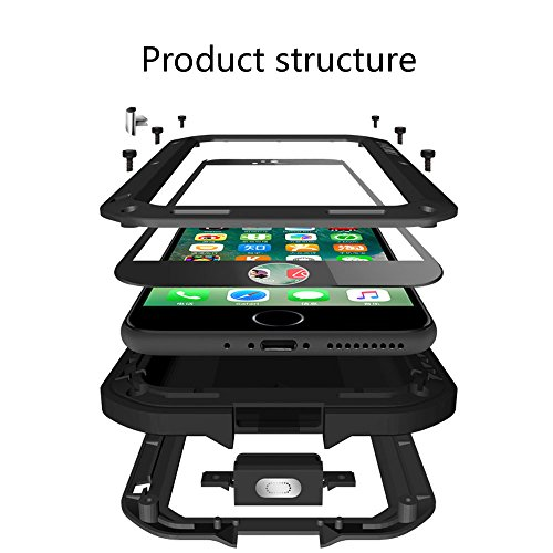 iPhone 7 Hülle Case, Feitenn Full Body Rugged Slim Heavy Duty Armor Aluminum Metal Shockproof Scratch Resistant Dual Layer TPU Protective Bumper Case Cover for Apple iPhone 7 4.7 Zoll (i7, Schwarz) Weiß
