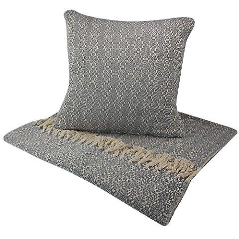 MACOSA HOME 2er Set hochwertige Wohndecke und Kissen /Blau /Beige mit Muster aus 100% Baumwolle. Mit Fransen/Kuschel-decke Plaid Sofadecke Naturdecke Wolldecke Designdecke Reisedecke (Blaue Gestreifte Kissen)