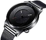 Relojes, diseño de moda reloj de pulsera para hombre, Business deporte simple dial negro de cuarzo analógico con única en espiral y la banda de malla de acero inoxidable