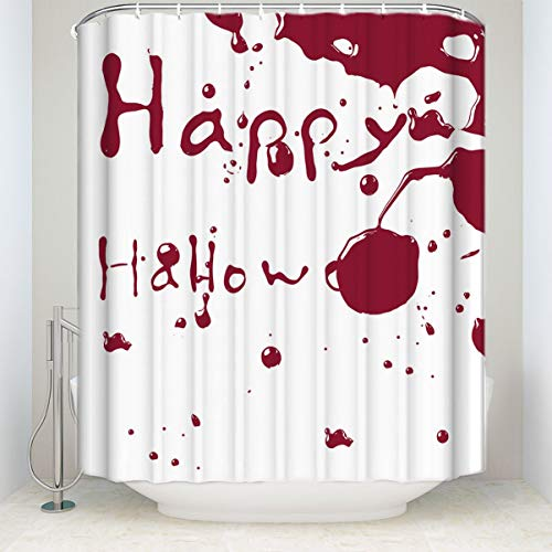 (HOJJP Shower Curtain Happy Halloween Flowing Blood Mildew Free Waterproof Fabric Polyester Shower Curtain)