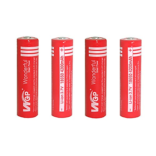 Galleria fotografica Skytower set WGP Wonderful Green Power 4pcs 18650 4200 mAh 3.7 V per Ultrafire CREE torcia ricaricabile (rosso)