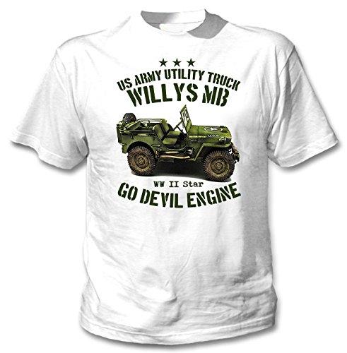Teesquare1st Willys Jeep MB Camiseta Blanca Hombre