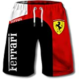 Pantalones Cortos De Verano para Hombres Pantalones De Playa Impresos con El Logotipo Digital 3D De Ferrari Pantalones Cortos