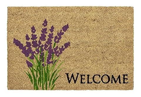 Coco Style Kokos-Fußmatte, Türmatte, Eingangsmatte, Vorleger Des. 9126-19 Welcome Lavendel ca. 40 x 60 cm, rutschfest, 100% Kokos bedruckt