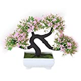 Künstlicher Mini guest-greeting Kiefer Creative Simulation Bonsai Baum Topfpflanzen für Home Office-Schreibtisch Tisch Decor, rosa