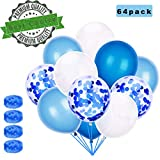 Sunshine smile 60 Stück Luftballons Blau, Ballons,konfetti Luftballons,Luftballons Hochzeit,Latex...