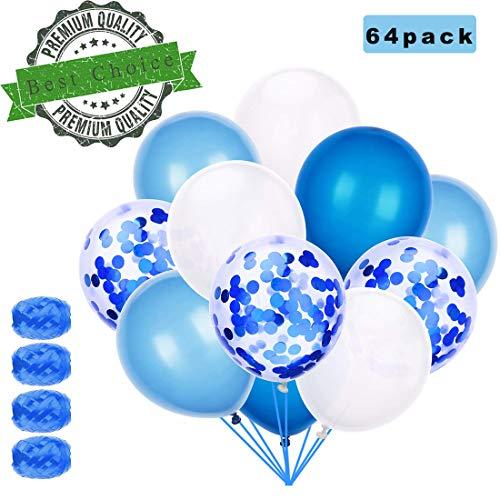 Sunshine smile 60 Stück Luftballons Blau, Ballons,konfetti Luftballons,Luftballons Hochzeit,Latex Glitter Ballons,Heliumluftballons,partyballons,Verdicken 3.2G, 4 Farbe. (Luftballons Und Konfetti)