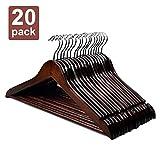 HOUSE DAY Wooden Hangers 20PCS Premium Heavy Duty Wooden Coat Hangers with Trouser